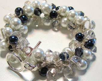Midnight Navy Blue, Crisp White Pearl Crystal Bridal Wedding Jewelry Bracelet, SAPPHIRE SPARKLE Hand Knit Cluster
