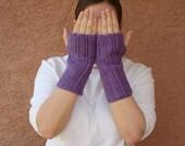 Plum Heather Purple Fingerless Gloves for Women - Crochet Wrist Warmers, Fingerless Mittens, Mitts, Arm Warmers - Hoooked - Ready To Ship