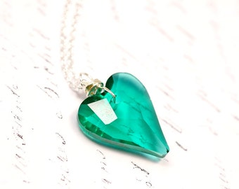 Emerald Green Heart Crystal Necklace, Teal Green Swarovski Crystal Pendant, Simple Everyday Wire Wrap Jewelry