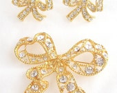 Gorgeous Vintage Rhinestone Costume Jewelry Demi Parure by Blanca Brooch and Earrings Stunning Crystals
