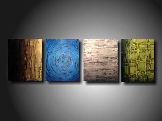 Art original Abstract painting JMJARTSTUDIO l 4  Piece Painting 20 Inches X 64 Inche Textured ----------- Silence-------custom