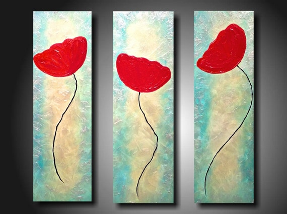 Art original Abstract painting  JMJARTSTUDIO Original 3  Piece Painting 24 Inches X 24 Inches HIGHLY Textured--Suddenly--Poppies-Iridescent