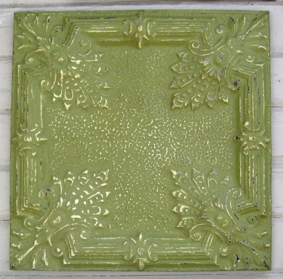 2'x2' Antique Ceiling Tin Tile Circa 1913. Green FRAMED Ready to Hang. Great for magnet board as well.