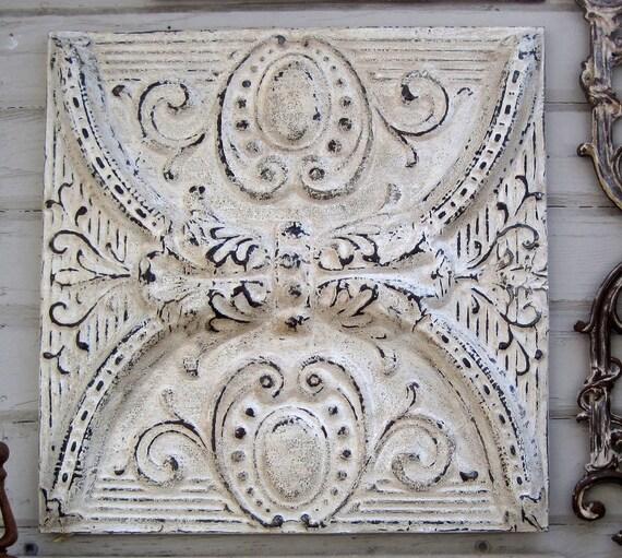 2'x2' Antique Ceiling Tile. Circa 1900.  FRAMED & ready to Hang. Creamy white.