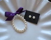Flower Girl Pearl  Bracelet and Earring set,  perfect for flower girls , first pearls, birthday gift Custom Made just for you