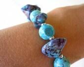 Purple and Turquoise Magnesite Bracelet