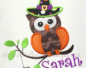 Personalized Owl Witch Shirt/Onesie-Super Cute Halloween Short or Long Sleeve Shirt