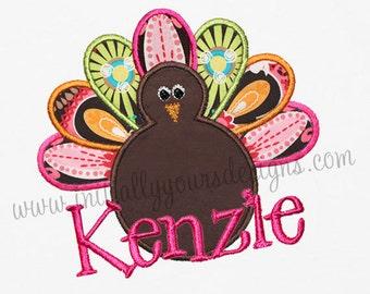 Girls Personalized Turkey Shirt/Onesie-Applique Monogrammed Thanksgiving Turkey Shirt