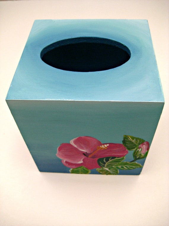 hand painted wooden tissue box cover,turquoise. hot pink hibiscus flowers,tissue box cover,hibiscus flowers,office decor,gift for woman