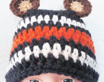 Beary Cute Hat Hand-crocheted Chicago Bears Inspired Baby Beanie with Ears By Distinctly Daisy