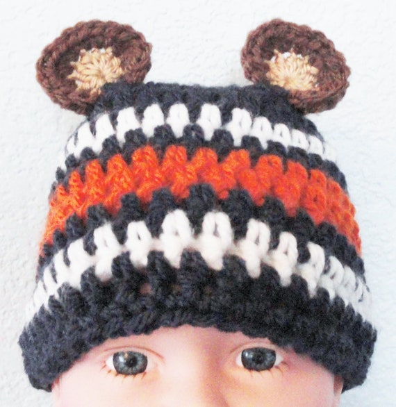 Beary Cute Hat Hand-crocheted Chicago Bears Inspired Baby