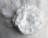 Wedding hair flower - Ivory Peony clip or comb with Ostrich Feather wedding headPiece Fascinator