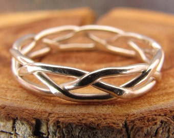 Skinny Silver Braided Stacking Ring