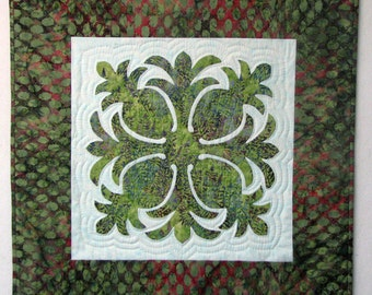"Hawaiin Pineapple Quilt Wallhanging - Batik Cotton Fabric Hand Quilted 28""x28"" Fiber Art Wall Art - Reverse Applique Machine Quilted"