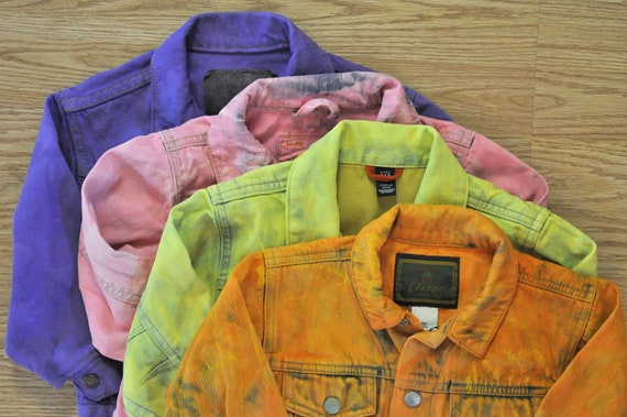 "Vintage Denim JACKET - Tangerine Orange Hand Dyed Upcycled Gap Denim Jacket - Childs Size 2 (24"" chest)"