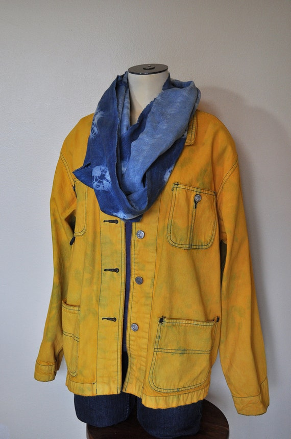 Colored Denim Barn JACKET - Gold Ochre Hand Dyed Upcycled Old Navy Denim Jacket - Womens Large (46 chest)