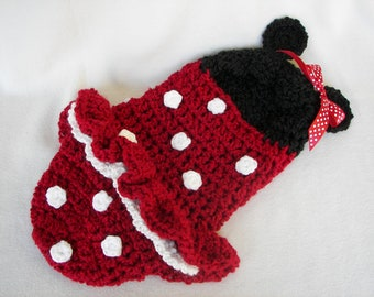 Cocoon, Hooded, Minnie Mouse, Newborn, Halloween Costume, Photography Prop