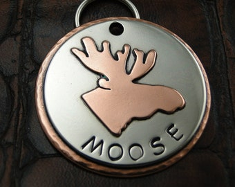 Moose Custom Dog ID Tag-Handmade Pet Collar Tag-Personalized Dog ID Tag-Keychain Fob or Luggage ID Tag