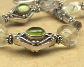 Peridot, Citrine and Smoky Quartz Bracelet with Sterling Silver Beads, Hook Clasp