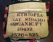 Upcycled Ethiopian Sidamo Messenger Bag in Black and Red - Made from Recycled Coffee Sack and Remnant Fabrics