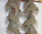 Crochet Ruffle Potato Chip Scarf with Eyelash Yarn Trim