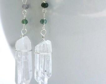 s t a l a c t i t e ....                            quartz crystals and faceted moss agate earrings