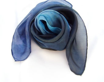Hand painted Silk Shawl Night Blue Headband Ready To Ship