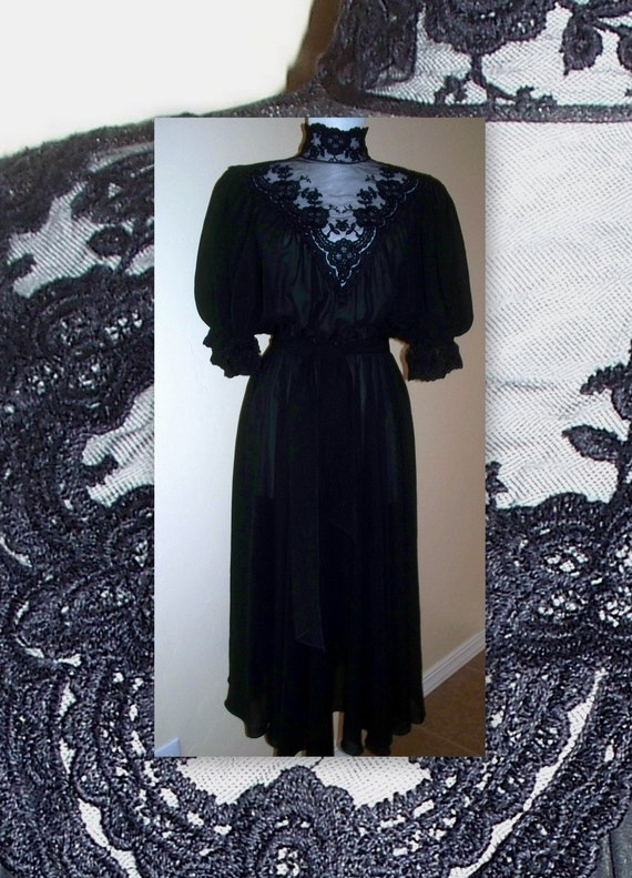 VINTage Black Victorian Bonnie Strauss chiffon and lace dress with matching belt