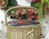 Vintage Wicker Fabric Lined Sewing Box