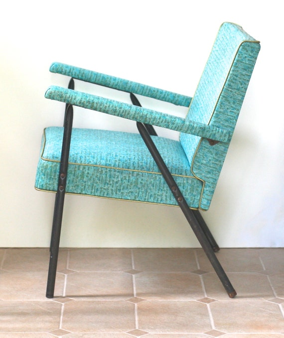Reserved For MOlly  Mid Century Modern Arm Chair Black Metal Aqua Vinyl