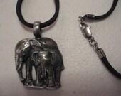 Unisex  Gunmetal Mother and Baby Elephant Choker/Necklace