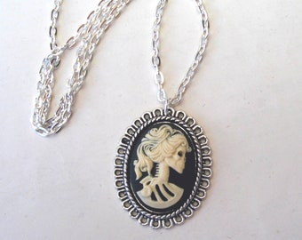 Zombie Necklace in Silver, Cream and Black Cameo Necklace, Lolita Necklace, Skeleton Necklace