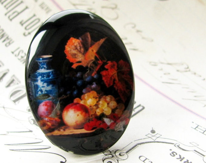 Floral and Fruit Still Life - handmade glass oval cabochon 40x30mm,  black flower, food, red, blue, yellow, dark cab