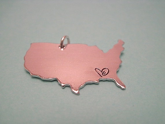 """Stateside- 1 1/8"""" x 3/4"""" aluminum United States charm hand stamped and customized"""