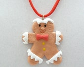 Gingerbread Man Holiday Necklace