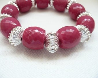 nbs-Stretch Bracelet Made With Hot Pink Acrylic Beads with Silver Accent Beads