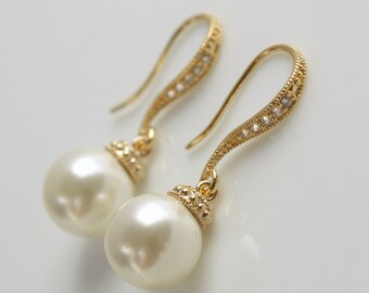 Gold Pearl Earrings Bridal Dangle Earrings Pearl Bridesmaid Earrings Swarovski Pearl Wedding Jewelry, Aubrey