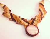 Macrame necklace mangano stone glass beads wine, mustard and cream