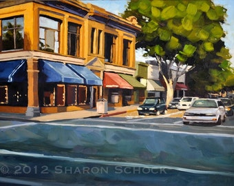 Cityscape Painting -  Golden Storefronts, San Luis Obispo - 9x12 by Sharon Schock