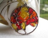 Stained Glass Autumn Jewelry, Fall Jewelry, Fall Tree Pendant, Autumn Tree Pendant. Tree of Life Pendant