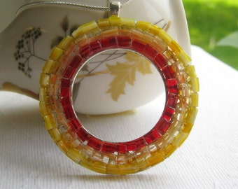 Sun Pendant, Circle Pendant, Yellow Red Pendant, Stained Glass Sun, Mosaic Sun