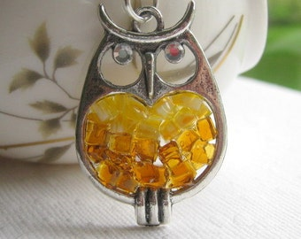 Glass Owl Necklace, Stained Glass Owl, Owl Jewelry, Copper Owl Necklace, Copper Glass Owl