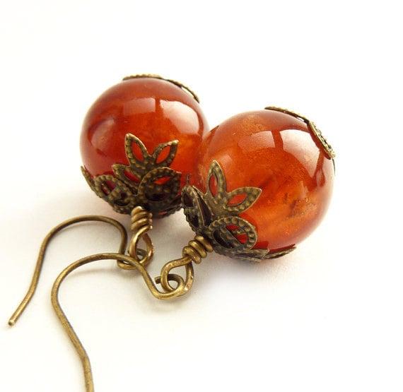 Burnt Orange Earrings, Vintage Orange Beads Beads, Beaded Earrings, Antique Inspired Bronze, Pumpkin, Autumn Colors