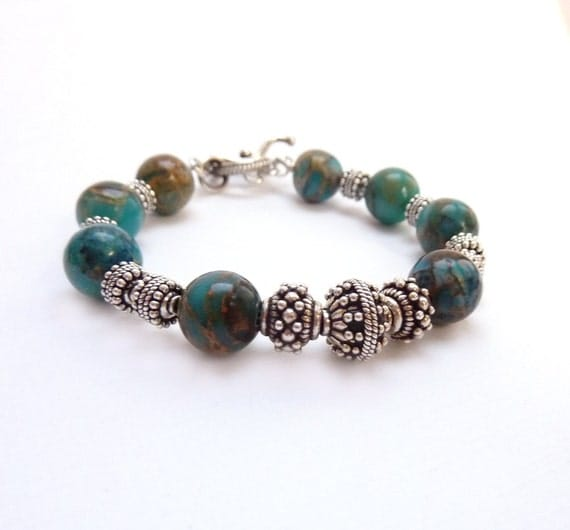 RESERVED FOR CONI Turquoise Beaded Bracelet, Sterling Silver