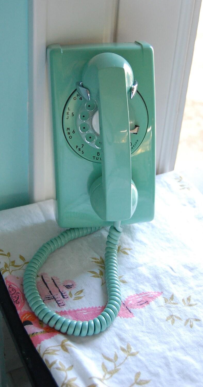 Retro Aqua Mint Green Rotary Mid Century Wall Phone Lovely