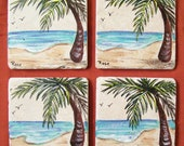 Palm Tree Coaster Set (Set of Four) Hand Painted on Tumbled Marble Tiles