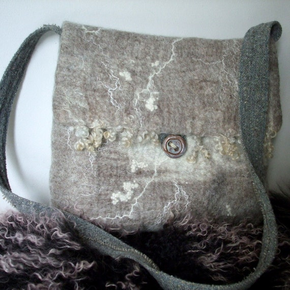 Felted Messenger Bag - Natural wool - fully lined
