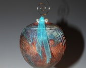Raku Ornament with Brilliant Blue Flashes