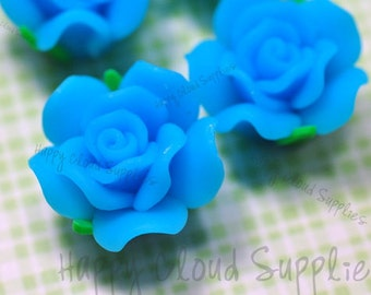 Blue Rose Polymer Clay Beads... 6pcs