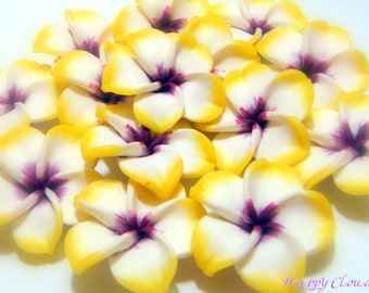 Large Yellow, White, and Purple Polymer Clay Plumeria Frangipani Flower Beads...4pcs